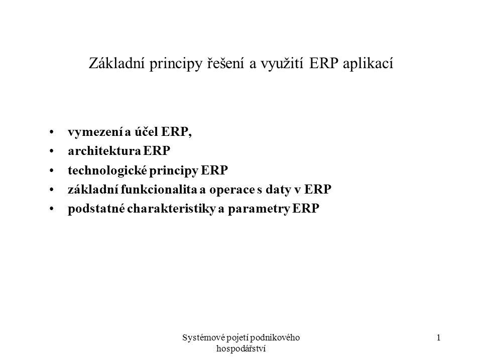 """Systémové pojetí podnikového hospodářství 2 Vymezení a účel ERP Enterprise Resource Planning - plánování podnikových zdrojů, účel - sjednotit dílčí podnikové funkce na úrovni celého podniku (""""Enterprise ) - aplikace """"celopodnikové , - do jedné aplikace sdílející společnou datovou základnu, ERP - jádro informačního systému - je zdrojem dat i pro ostatní typy aplikací (vytváří a udržuje databáze produktů pro katalogy zboží na www stránkách společnosti, databáze zákazníků pro účely CRM aplikací,.."""