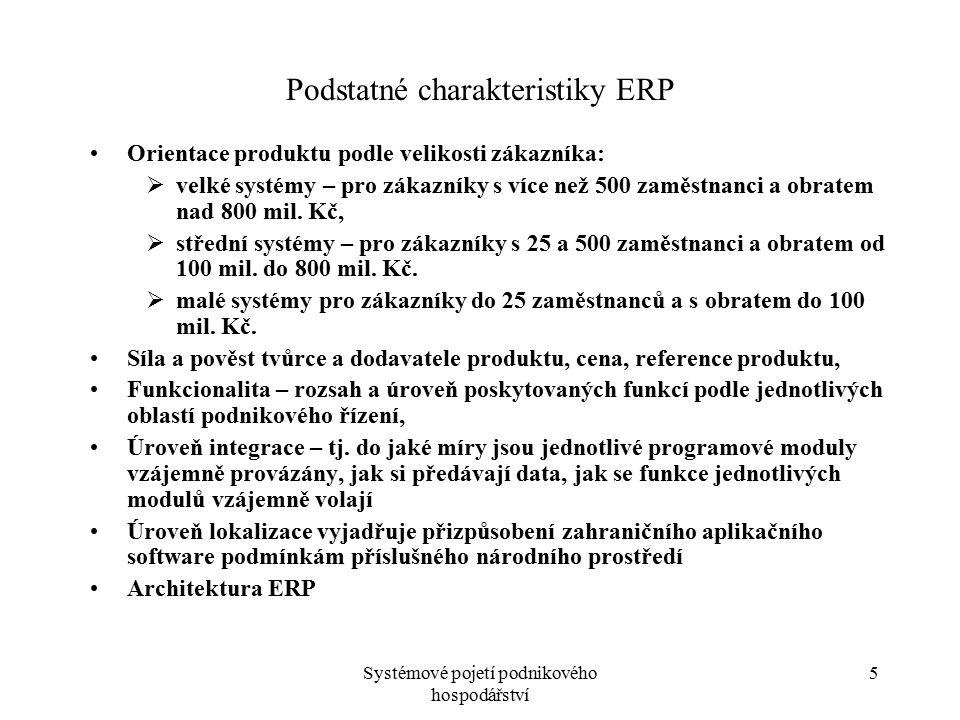 Systémové pojetí podnikového hospodářství 6 Podstatné charakteristiky ERP Provozní prostředí ERP (databázové systémy, operační systémy, …) Možnosti úprav software, customizace.