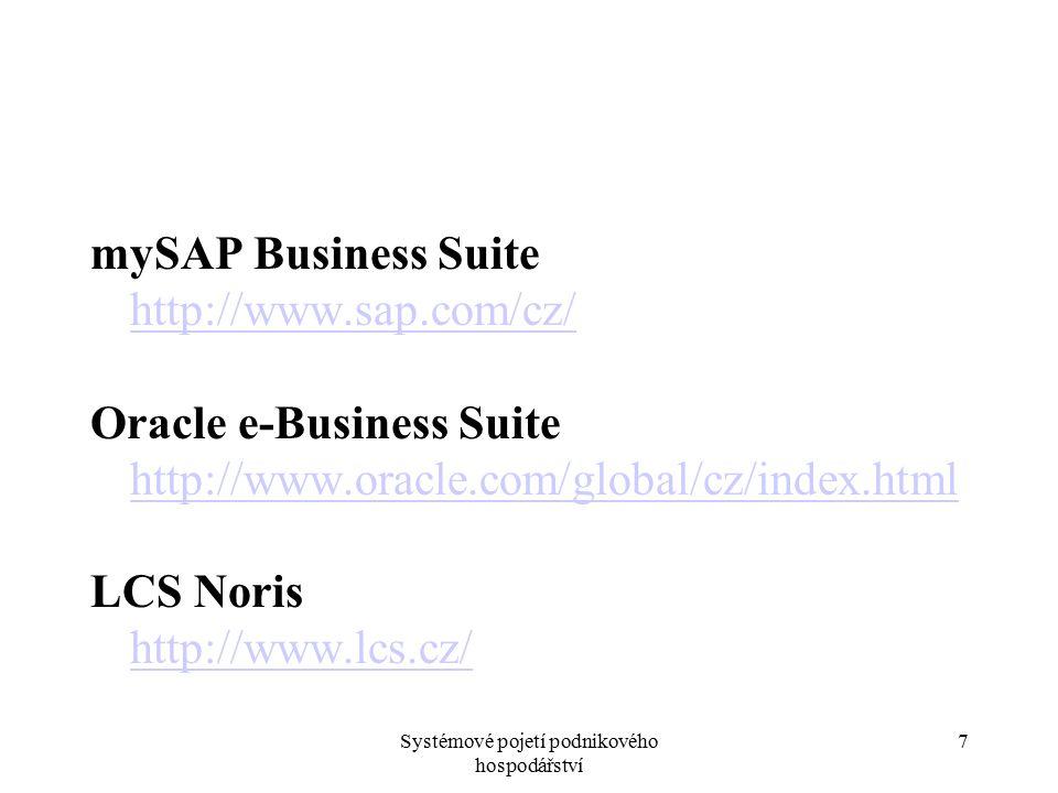 Systémové pojetí podnikového hospodářství 7 mySAP Business Suite http://www.sap.com/cz/ Oracle e-Business Suite http://www.oracle.com/global/cz/index.