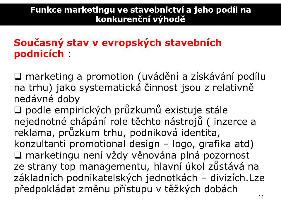 Funkce marketingu ve stavebnictví a jeho podíl na konkurenční výhodě 11 Současný stav v evropských stavebních podnicích :  marketing a promotion (uvá