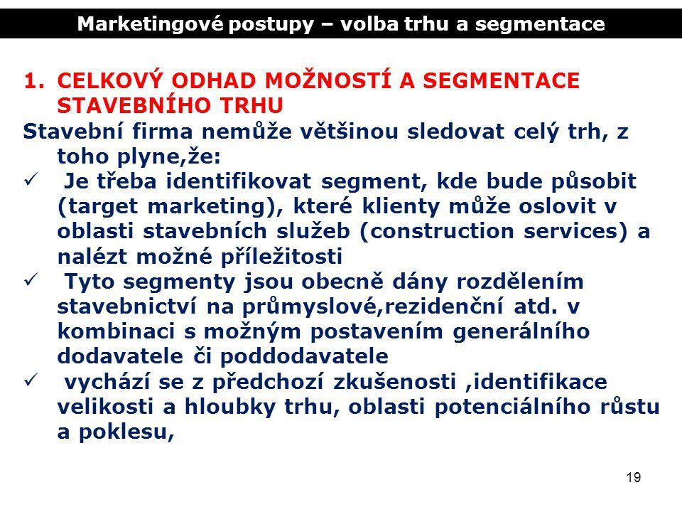 Marketingové postupy – volba trhu a segmentace 19 1.CELKOVÝ ODHAD MOŽNOSTÍ A SEGMENTACE STAVEBNÍHO TRHU Stavební firma nemůže většinou sledovat celý t