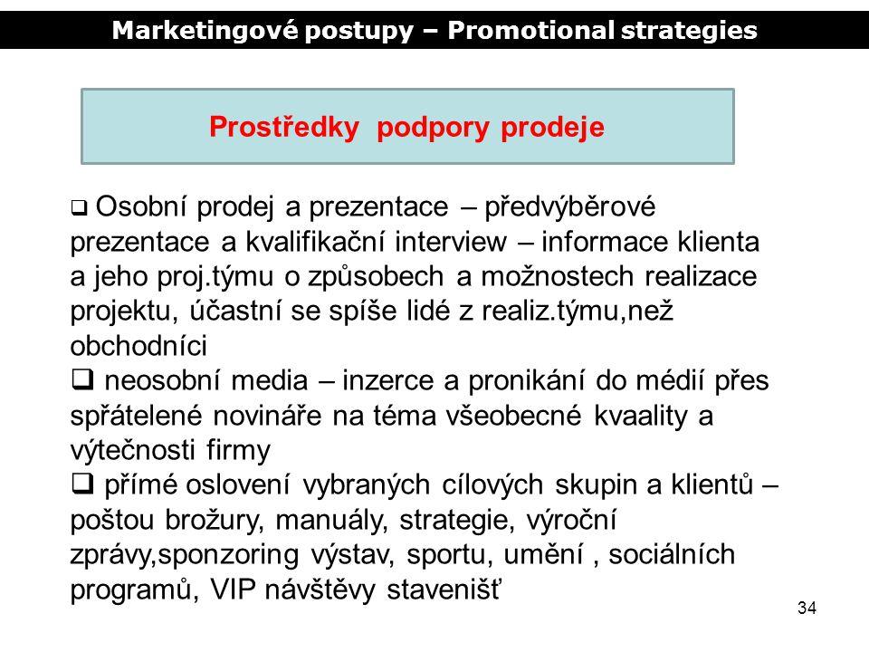 Marketingové postupy – Promotional strategies 34 Prostředky podpory prodeje  Osobní prodej a prezentace – předvýběrové prezentace a kvalifikační inte