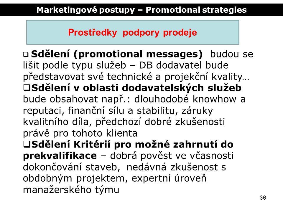 Marketingové postupy – Promotional strategies 36 Prostředky podpory prodeje  Sdělení (promotional messages) budou se lišit podle typu služeb – DB dod
