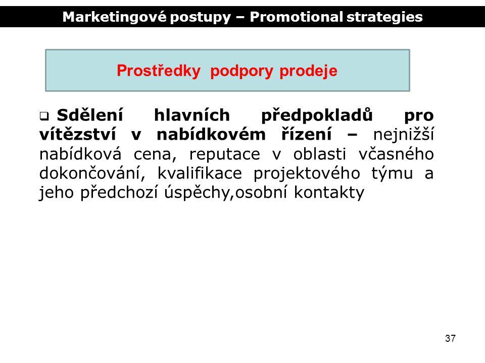Marketingové postupy – Promotional strategies 37 Prostředky podpory prodeje  Sdělení hlavních předpokladů pro vítězství v nabídkovém řízení – nejnižš