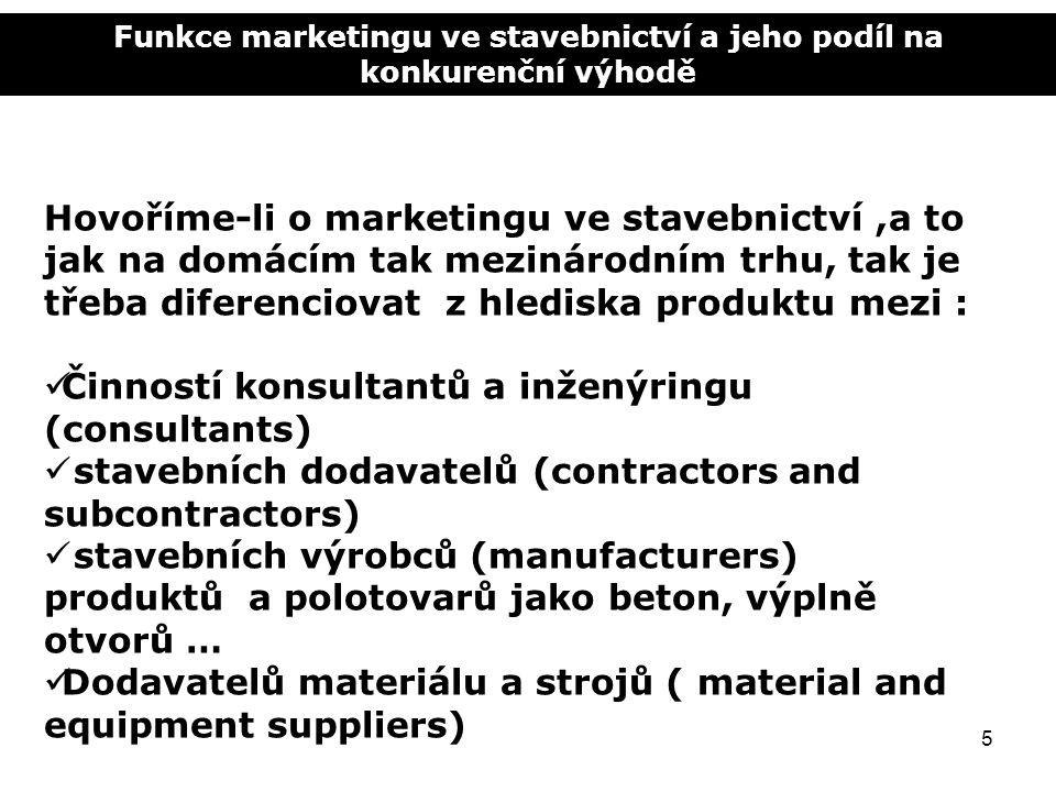 Funkce marketingu ve stavebnictví a jeho podíl na konkurenční výhodě 5 Hovoříme-li o marketingu ve stavebnictví,a to jak na domácím tak mezinárodním t