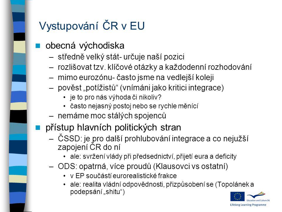 Vystupování ČR v EU obecná východiska –středně velký stát- určuje naší pozici –rozlišovat tzv. klíčové otázky a každodenní rozhodování –mimo eurozónu-