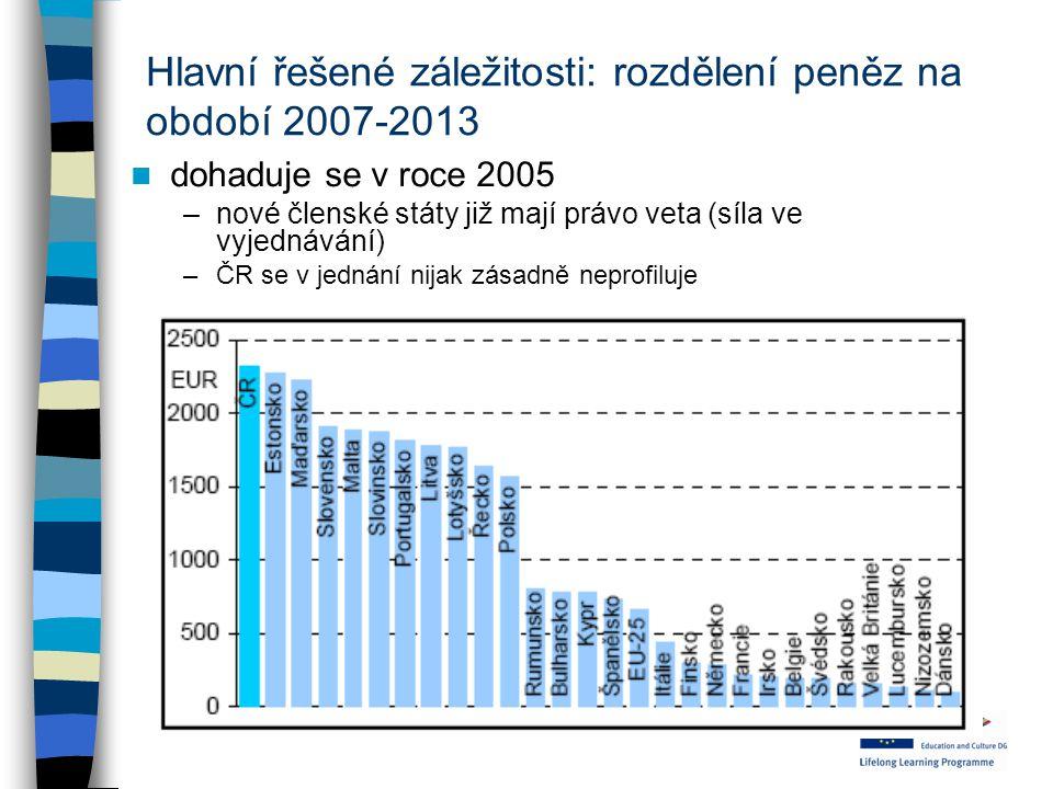 Hlavní řešené záležitosti: rozdělení peněz na období 2007-2013 dohaduje se v roce 2005 –nové členské státy již mají právo veta (síla ve vyjednávání) –