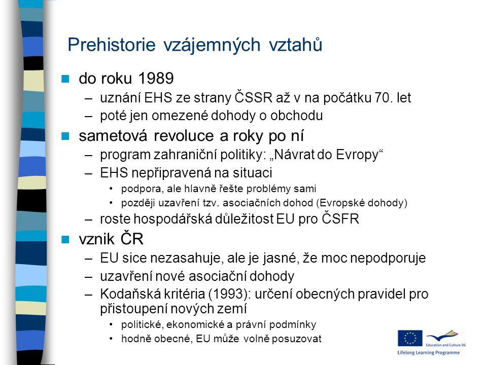 Prehistorie vzájemných vztahů do roku 1989 –uznání EHS ze strany ČSSR až v na počátku 70. let –poté jen omezené dohody o obchodu sametová revoluce a r