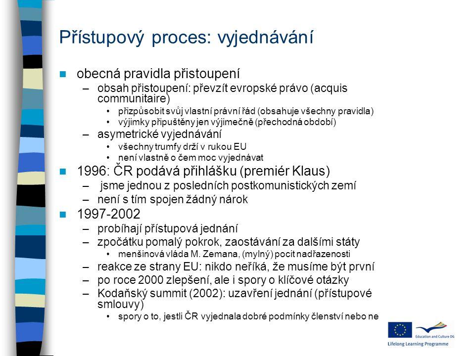 Přístupový proces: vyjednávání obecná pravidla přistoupení –obsah přistoupení: převzít evropské právo (acquis communitaire) přizpůsobit svůj vlastní p