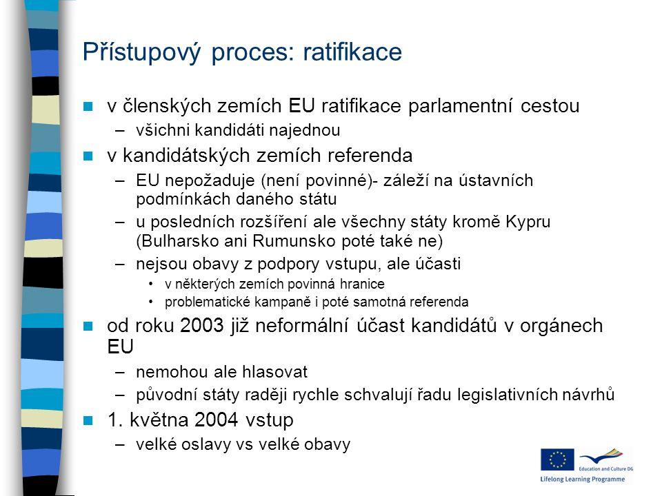 Přístupový proces: ratifikace v členských zemích EU ratifikace parlamentní cestou –všichni kandidáti najednou v kandidátských zemích referenda –EU nep
