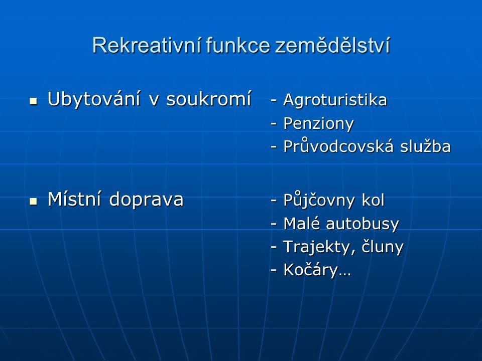 Rekreativní funkce zemědělství Ubytování v soukromí - Agroturistika Ubytování v soukromí - Agroturistika - Penziony - Průvodcovská služba Místní dopra