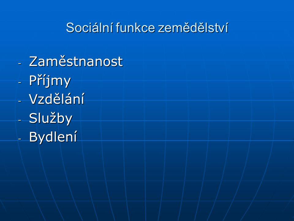 Sociální funkce zemědělství - Zaměstnanost - Příjmy - Vzdělání - Služby - Bydlení