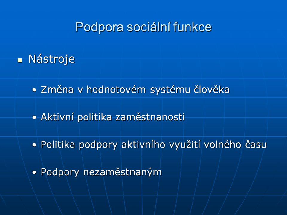 Podpora sociální funkce Nástroje Nástroje Změna v hodnotovém systému člověkaZměna v hodnotovém systému člověka Aktivní politika zaměstnanostiAktivní p