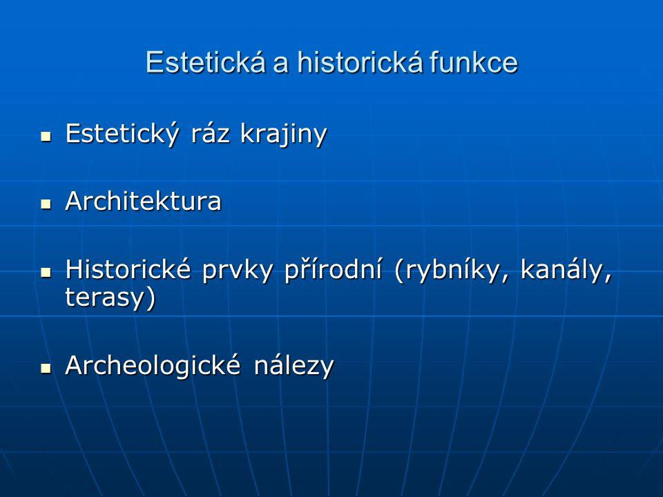 Estetická a historická funkce Estetický ráz krajiny Estetický ráz krajiny Architektura Architektura Historické prvky přírodní (rybníky, kanály, terasy