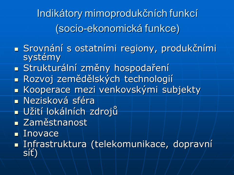 Indikátory mimoprodukčních funkcí (socio-ekonomická funkce) Srovnání s ostatními regiony, produkčními systémy Srovnání s ostatními regiony, produkčním