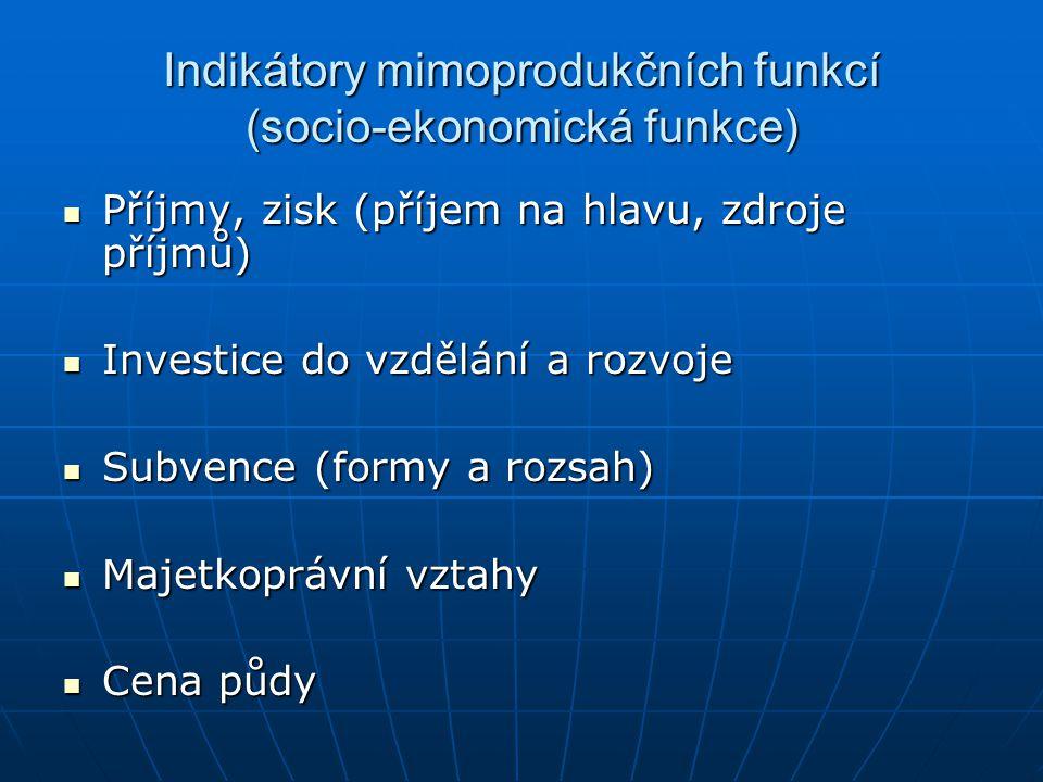 Indikátory mimoprodukčních funkcí (socio-ekonomická funkce) Příjmy, zisk (příjem na hlavu, zdroje příjmů) Příjmy, zisk (příjem na hlavu, zdroje příjmů