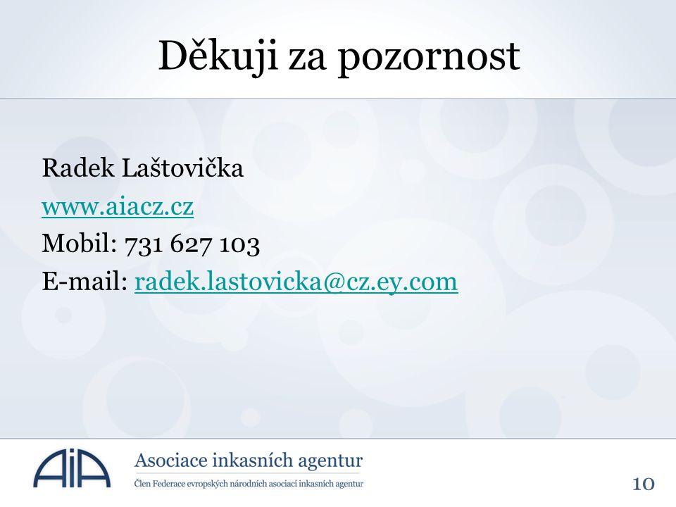 10 Děkuji za pozornost Radek Laštovička www.aiacz.cz Mobil: 731 627 103 E-mail: radek.lastovicka@cz.ey.comradek.lastovicka@cz.ey.com