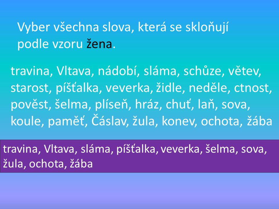 Vyber všechna slova, která se skloňují podle vzoru žena. travina, Vltava, nádobí, sláma, schůze, větev, starost, píšťalka, veverka, židle, neděle, ctn