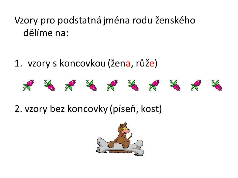 Vzory pro podstatná jména rodu ženského dělíme na: 1.vzory s koncovkou (žena, růže) 2.