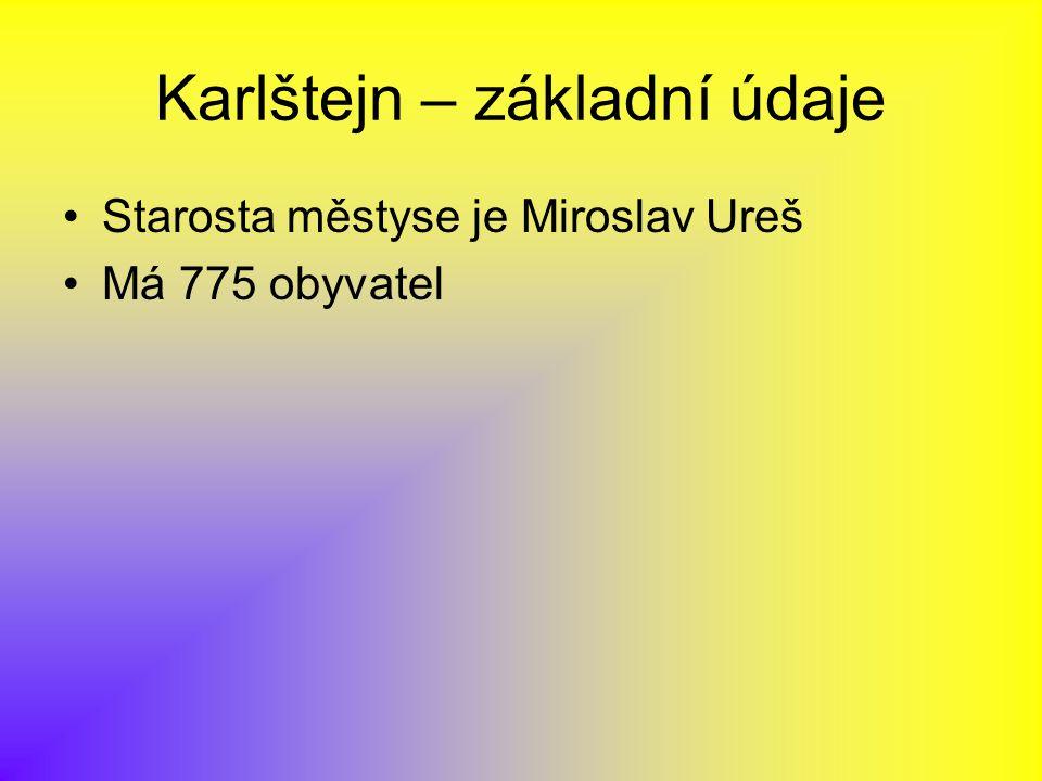 Karlštejn – základní údaje Starosta městyse je Miroslav Ureš Má 775 obyvatel
