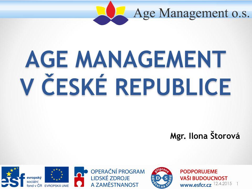 PŘÍKLADY PERSONÁLNÍCH ČINNOSTÍ 12.4.2015Age Management o.s.22 Personální činnost Možnosti opatření Vzdělávání a rozvoj  Zaměření vzdělávání s ohledem na delší pracovní život  Pohovory na téma profesního rozvoje  Kurzy zaměřené na zvládání nových technologií  Vzdělávací programy pro manažery zaměřené na problematiku stárnutí na pracovišti a výhody věkově diverzifikovaných pracovních týmů  Kurzy zaměřené na přípravu na odchod do důchodu (plán odchodu do důchodu) Pracovní vztahy  Nastavení firemní kultury vstřícné k pracovníkům jakéhokoliv věku  Přínosy věkově diverzifikovaných týmů Péče o pracovníky  Úprava pracovní doby  Nástroje slaďování osobního a pracovního života (Work Life Balance)  Bezpečnost práce a ochrana zdraví, podpora pracovní schopnosti (opatření v oblasti ergonomie, na podporu zdraví a funkční kapacity)