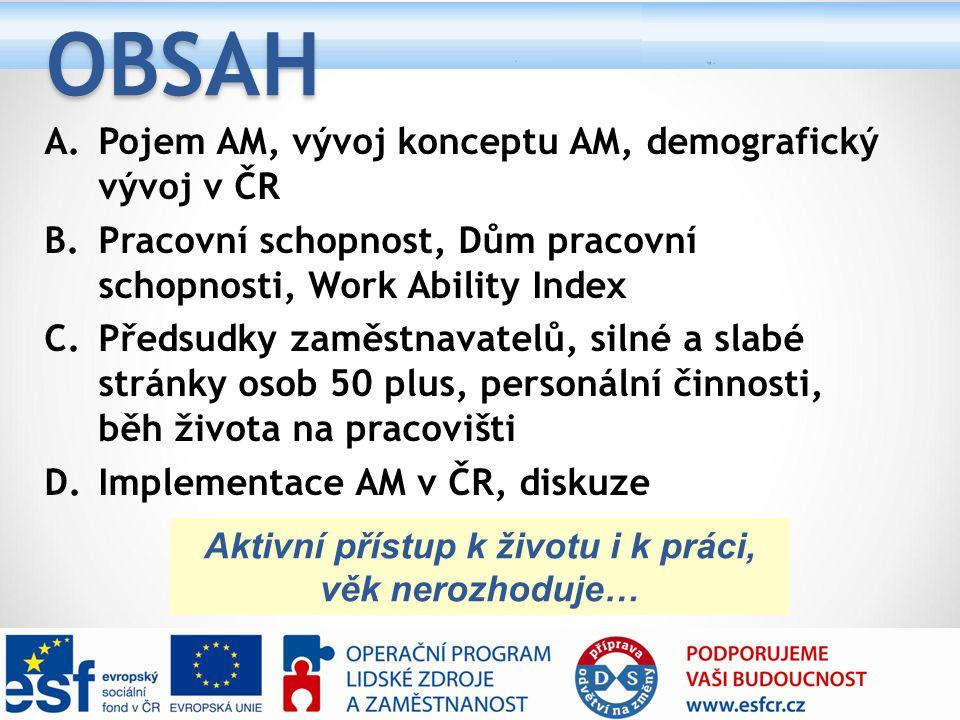A.Pojem AM, vývoj konceptu AM, demografický vývoj v ČR B.Pracovní schopnost, Dům pracovní schopnosti, Work Ability Index C.Předsudky zaměstnavatelů, s