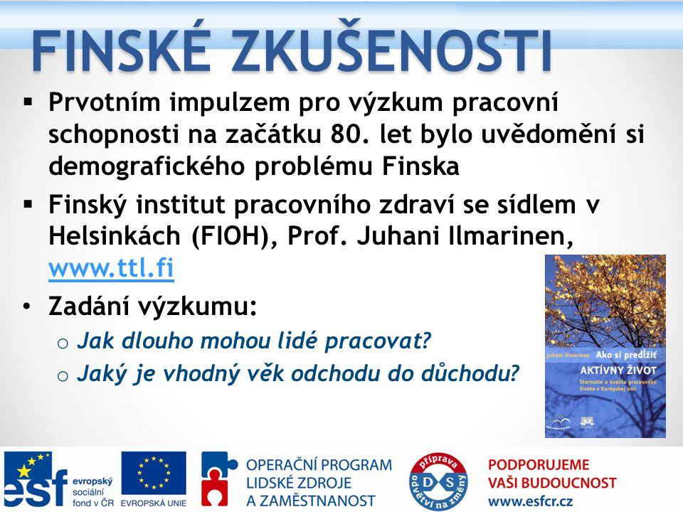 FINSKÉ ZKUŠENOSTI  Prvotním impulzem pro výzkum pracovní schopnosti na začátku 80. let bylo uvědomění si demografického problému Finska  Finský inst