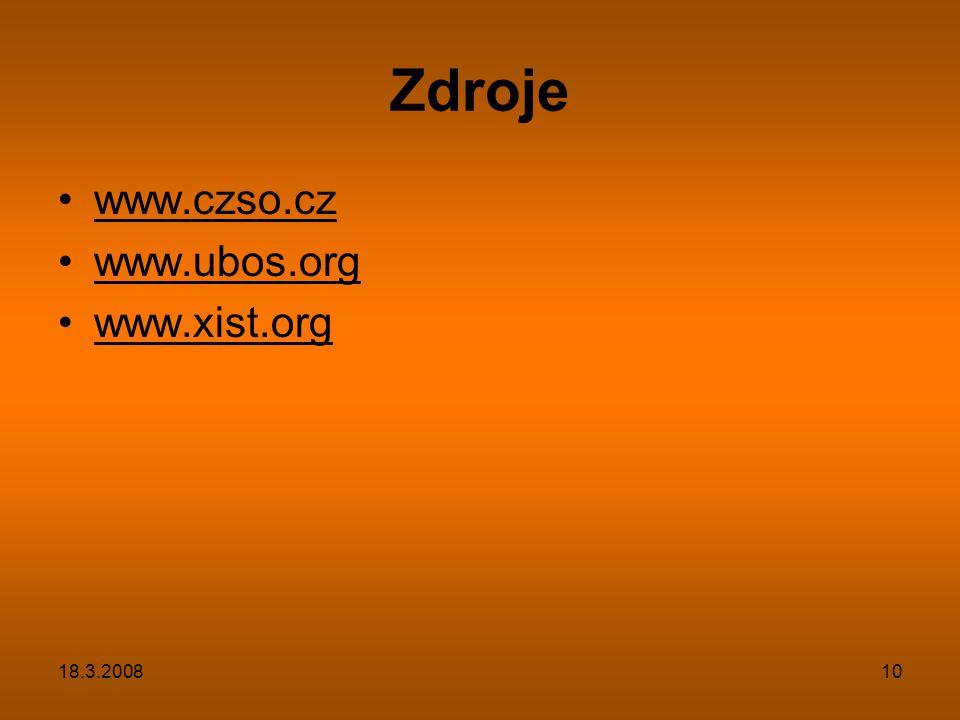 18.3.200810 Zdroje www.czso.cz www.ubos.org www.xist.org