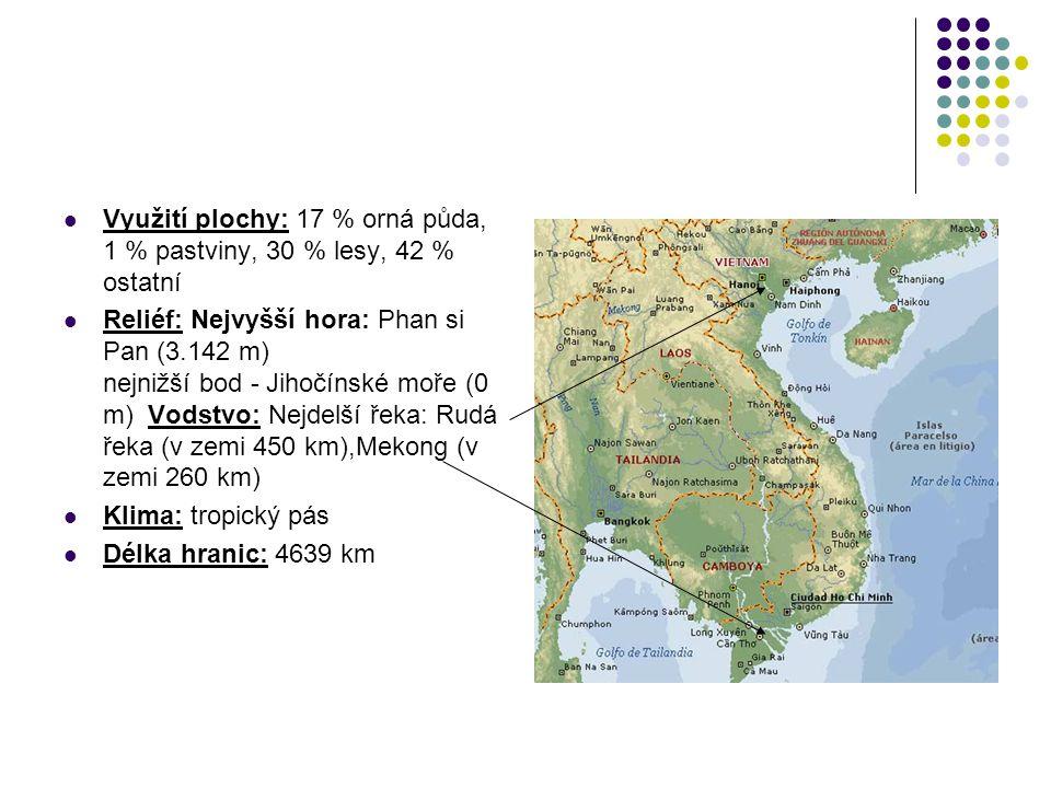 Využití plochy: 17 % orná půda, 1 % pastviny, 30 % lesy, 42 % ostatní Reliéf: Nejvyšší hora: Phan si Pan (3.142 m) nejnižší bod - Jihočínské moře (0 m