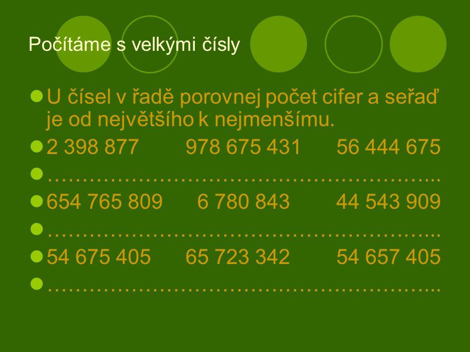 Počítáme s velkými čísly U čísel v řadě porovnej počet cifer a seřaď je od největšího k nejmenšímu.