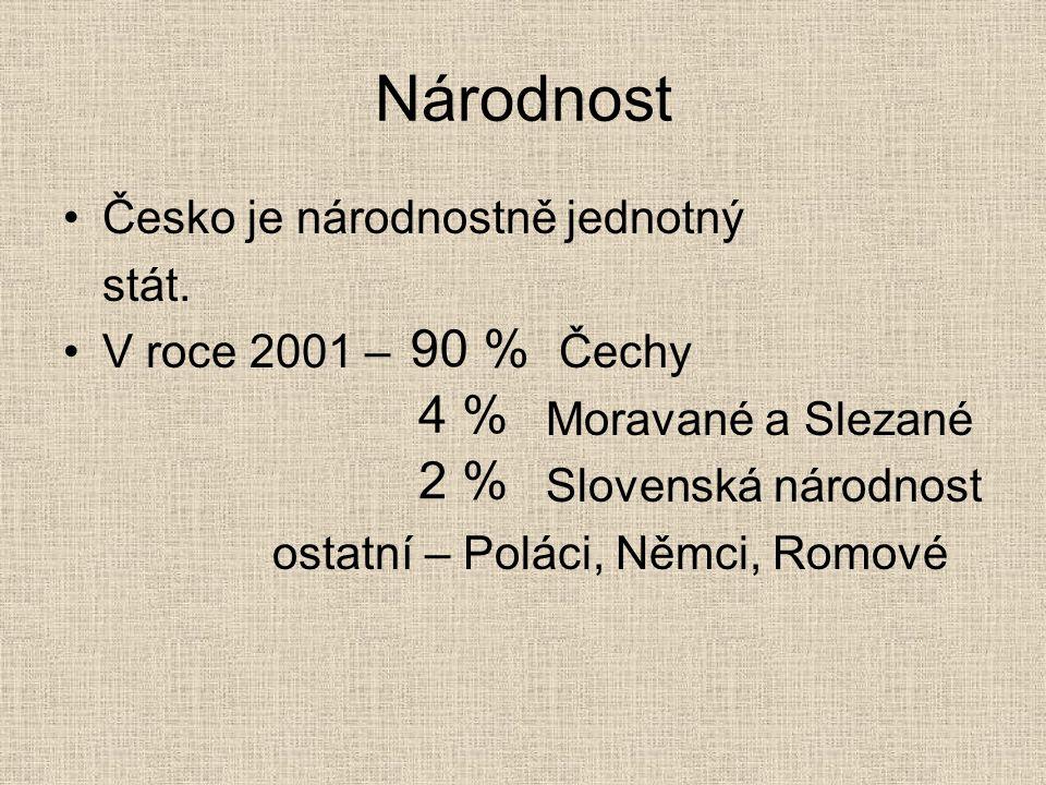 Národnost Česko je národnostně jednotný stát.