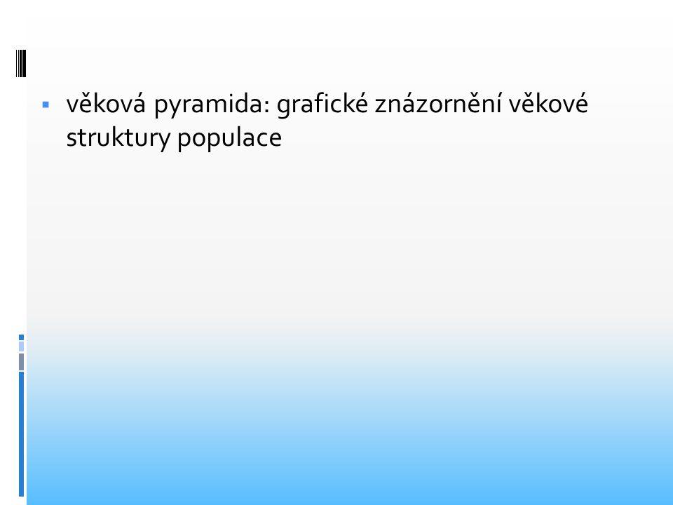  věková pyramida: grafické znázornění věkové struktury populace