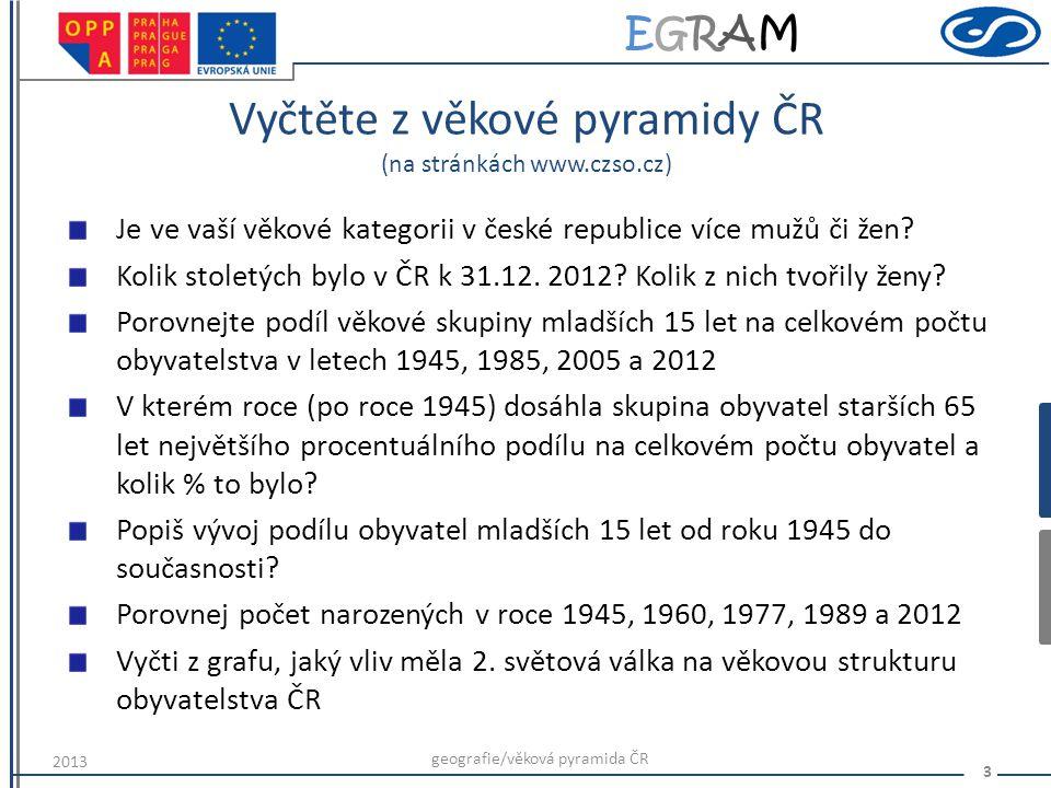 EGRAMEGRAM 4 Děkuji za pozornost geografie/věková pyramida ČR 2013