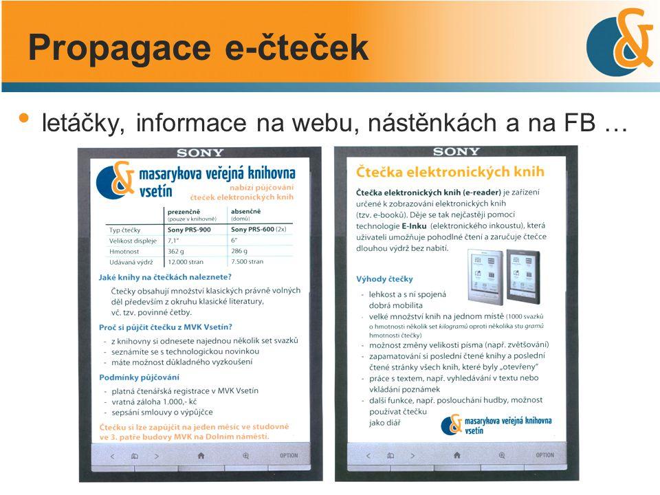 Propagace e-čteček letáčky, informace na webu, nástěnkách a na FB …