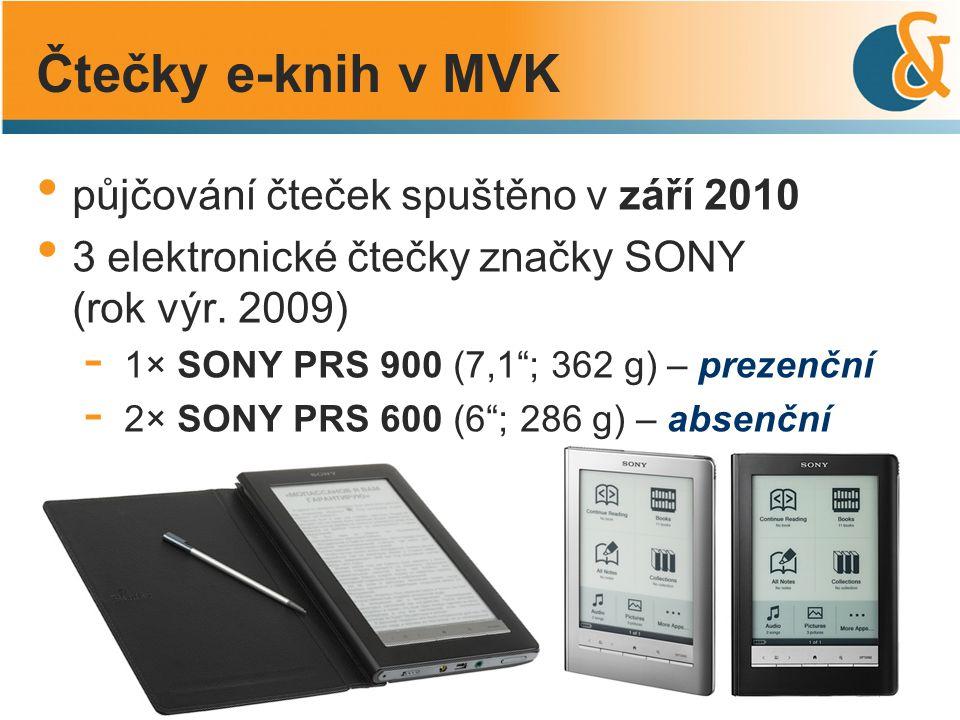 """půjčování čteček spuštěno v září 2010 3 elektronické čtečky značky SONY (rok výr. 2009) - 1× SONY PRS 900 (7,1""""; 362 g) – prezenční - 2× SONY PRS 600"""