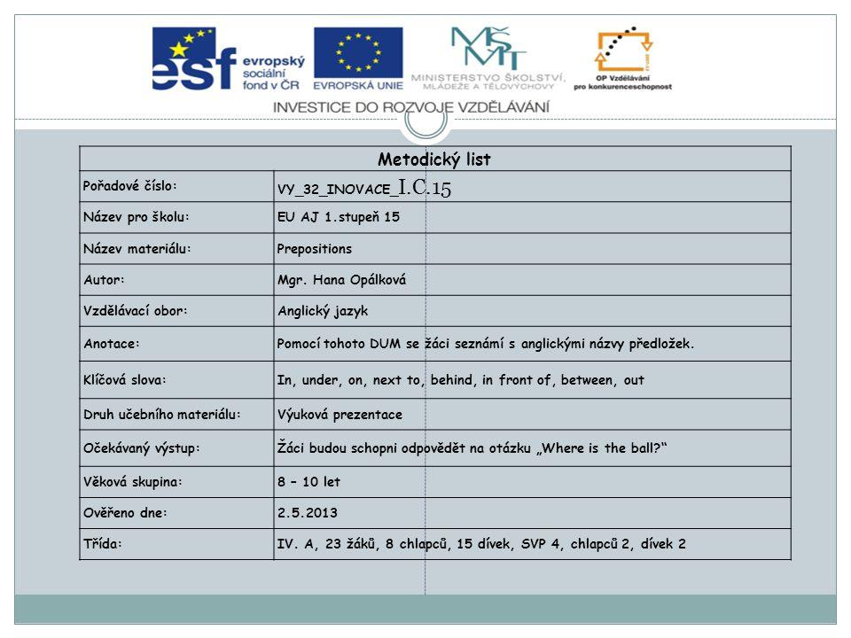 Metodický list Pořadové číslo: VY_32_INOVACE_ I.C.15 Název pro školu:EU AJ 1.stupeň 15 Název materiálu:Prepositions Autor:Mgr. Hana Opálková Vzdělávac