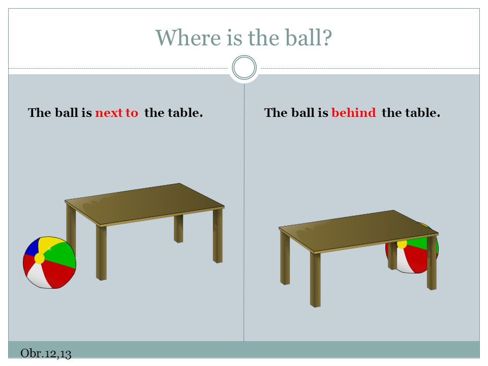 Where is the ball? Obr.12,13 The ball is next to the table.The ball is behind the table.