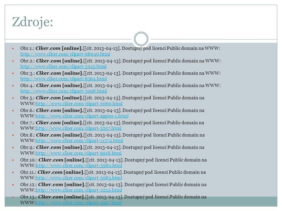 Zdroje: Obr.1.: Clker.com [online].[[cit. 2013-04-13]. Dostupný pod licencí Public domain na WWW: http://www.clker.com/clipart-68040.html http://www.c