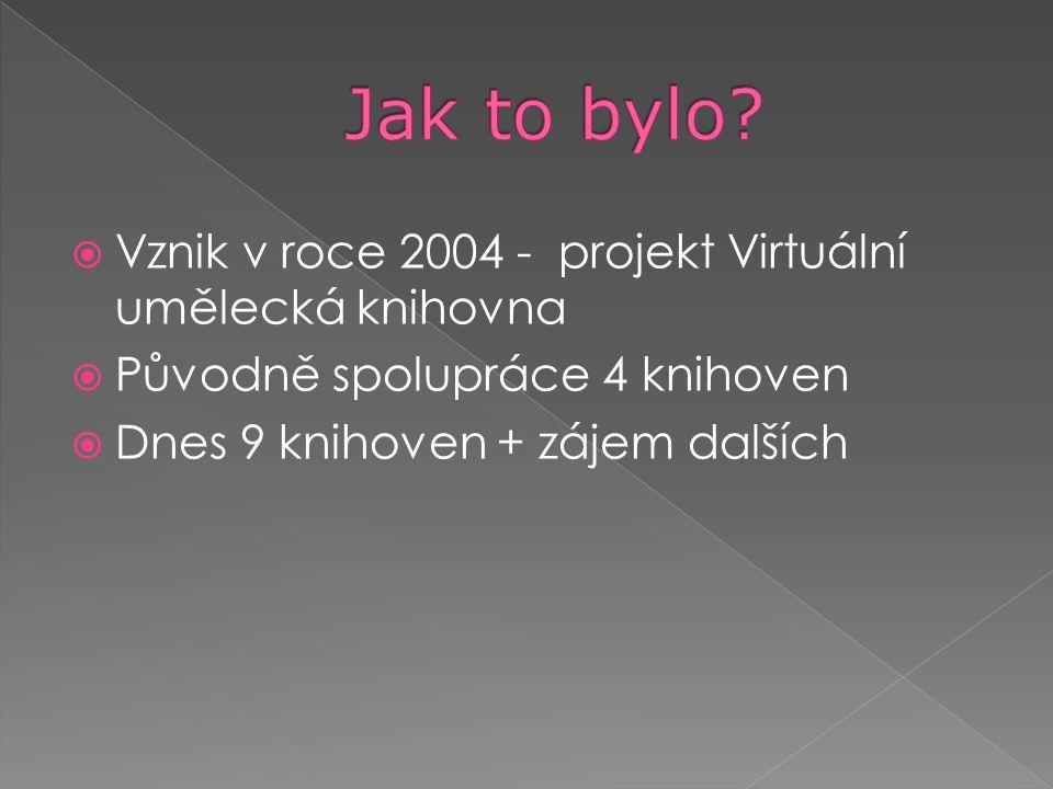  Vznik v roce 2004 - projekt Virtuální umělecká knihovna  Původně spolupráce 4 knihoven  Dnes 9 knihoven + zájem dalších