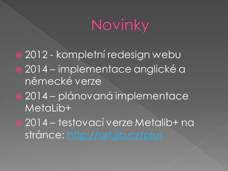  2012 - kompletní redesign webu  2014 – implementace anglické a německé verze  2014 – plánovaná implementace MetaLib+  2014 – testovací verze Metalib+ na stránce: http://art.jib.cz/plushttp://art.jib.cz/plus