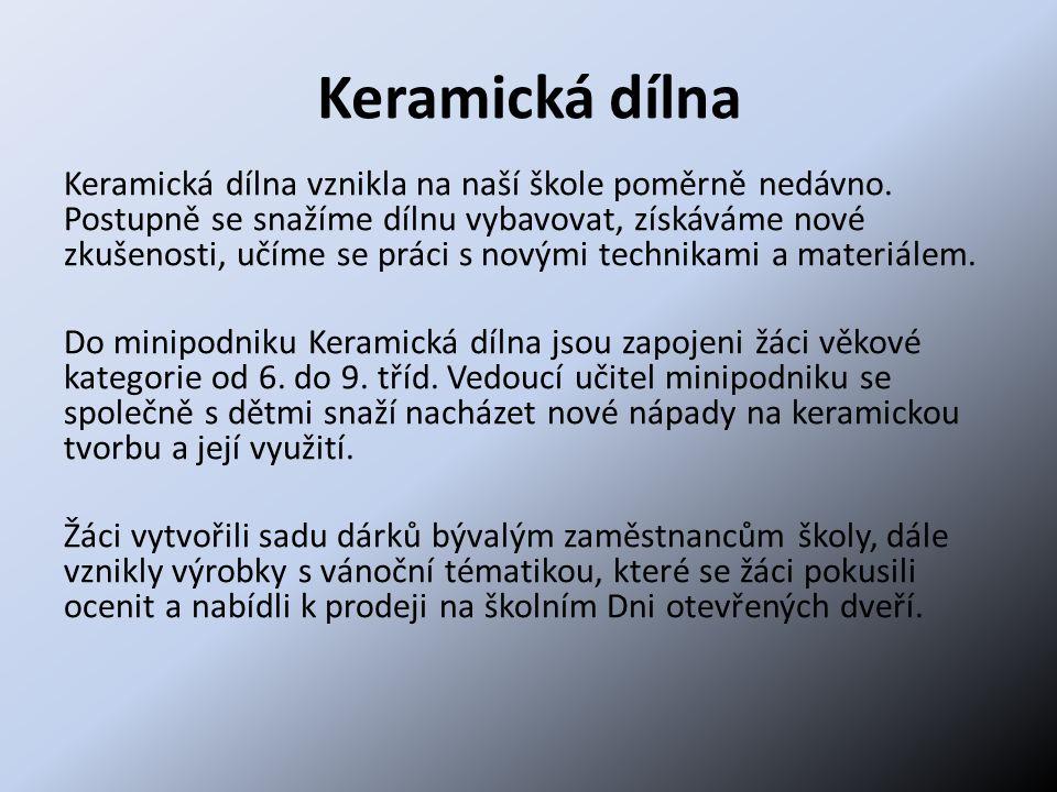 Keramická dílna Keramická dílna vznikla na naší škole poměrně nedávno. Postupně se snažíme dílnu vybavovat, získáváme nové zkušenosti, učíme se práci
