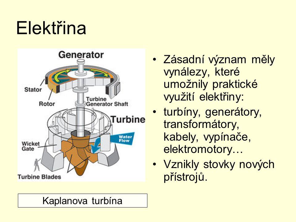 Elektřina Zásadní význam měly vynálezy, které umožnily praktické využití elektřiny: turbíny, generátory, transformátory, kabely, vypínače, elektromoto