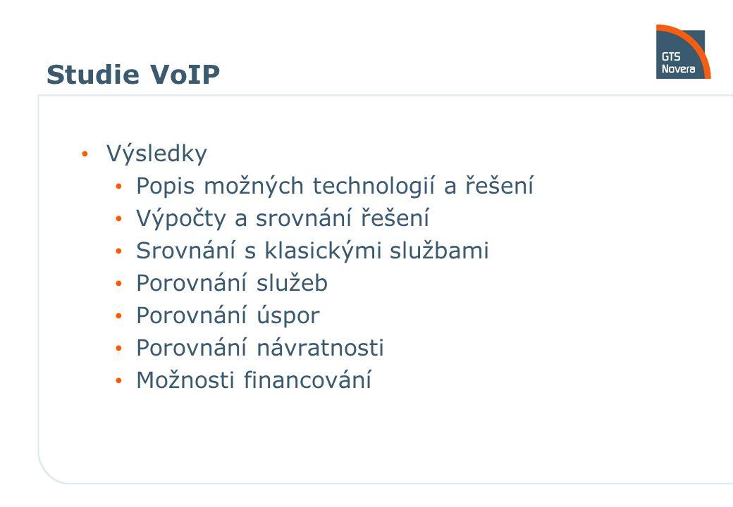 Studie VoIP Výsledky Popis možných technologií a řešení Výpočty a srovnání řešení Srovnání s klasickými službami Porovnání služeb Porovnání úspor Porovnání návratnosti Možnosti financování