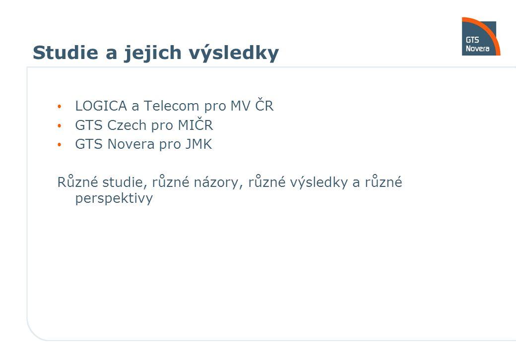 Studie a jejich výsledky LOGICA a Telecom pro MV ČR GTS Czech pro MIČR GTS Novera pro JMK Různé studie, různé názory, různé výsledky a různé perspektivy