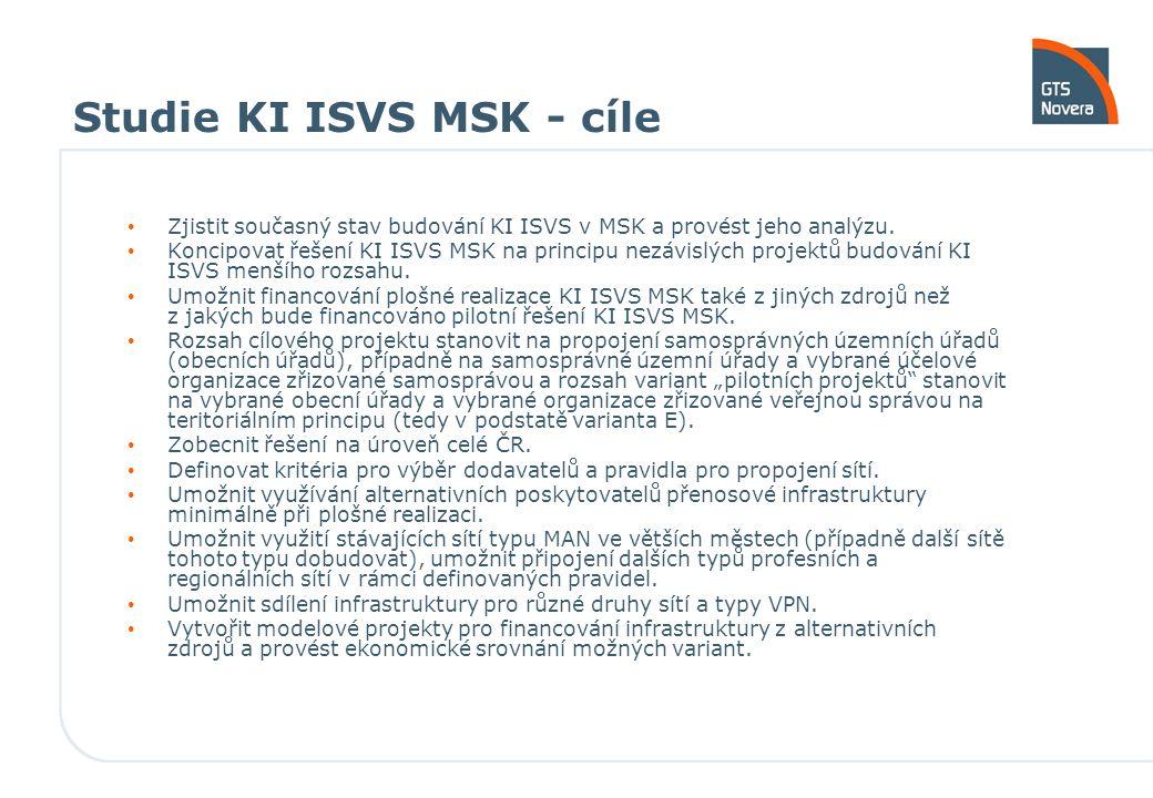 Studie KI ISVS MSK - cíle Zjistit současný stav budování KI ISVS v MSK a provést jeho analýzu. Koncipovat řešení KI ISVS MSK na principu nezávislých p