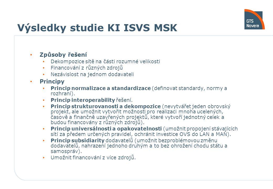 Výsledky studie KI ISVS MSK Způsoby řešení Dekompozice sítě na části rozumné velikosti Financování z různých zdrojů Nezávislost na jednom dodavateli P