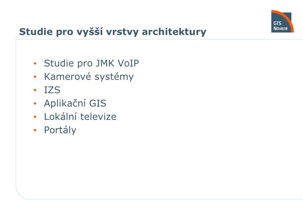 Studie pro vyšší vrstvy architektury Studie pro JMK VoIP Kamerové systémy IZS Aplikační GIS Lokální televize Portály