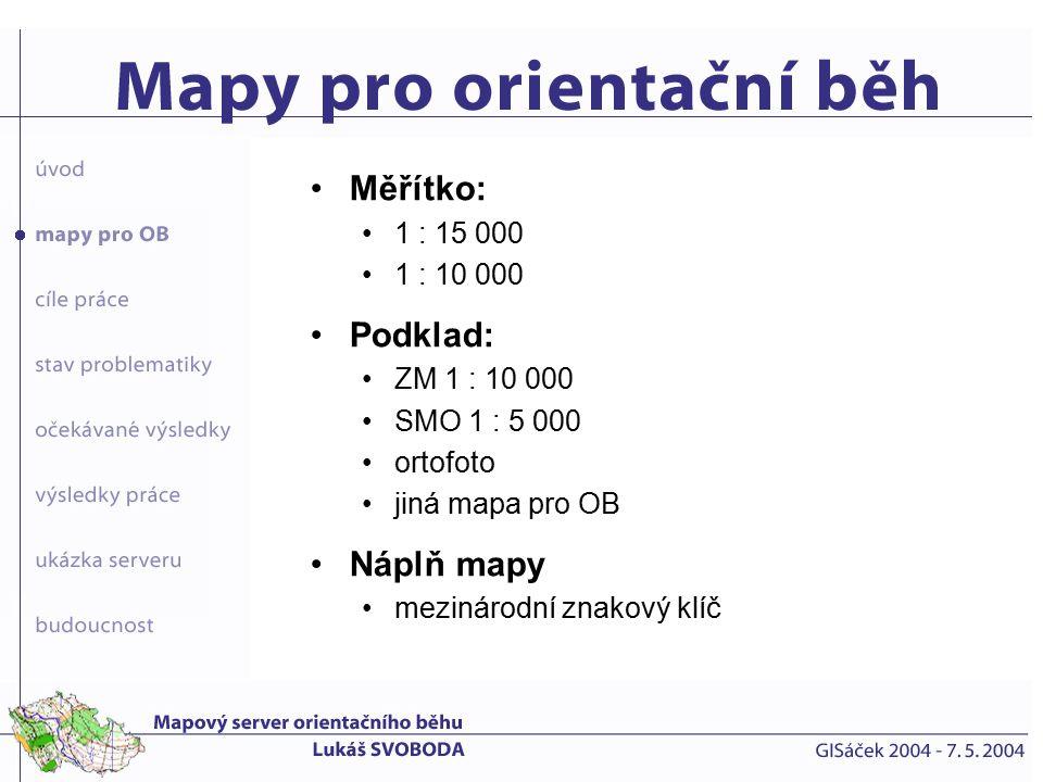 zhodnocení současné databáze map a návrh nové databáze, vhodné pro prostředí internetu přeměna této databáze do podoby, která umožní její využití mapovým serverem napojení této databáze na vrstvu obrysů vydaných map publikace celého systému v prostředí internetu s využitím mapového serveru