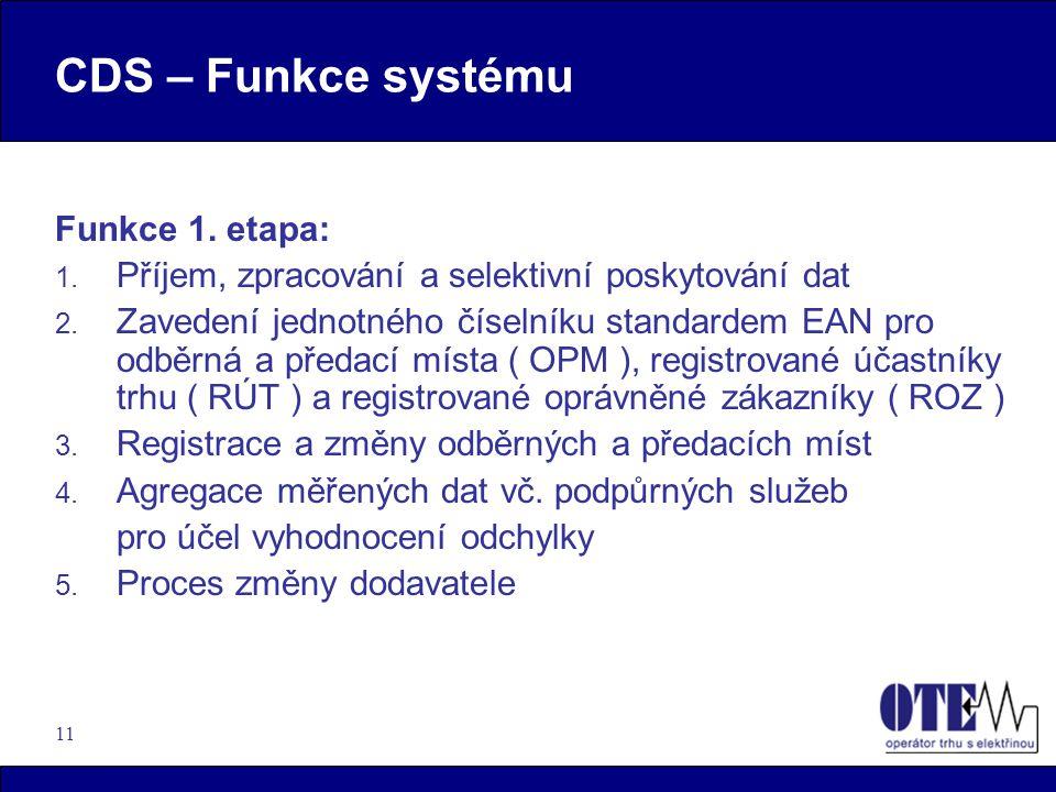 11 CDS – Funkce systému Funkce 1. etapa: 1. Příjem, zpracování a selektivní poskytování dat 2. Zavedení jednotného číselníku standardem EAN pro odběrn