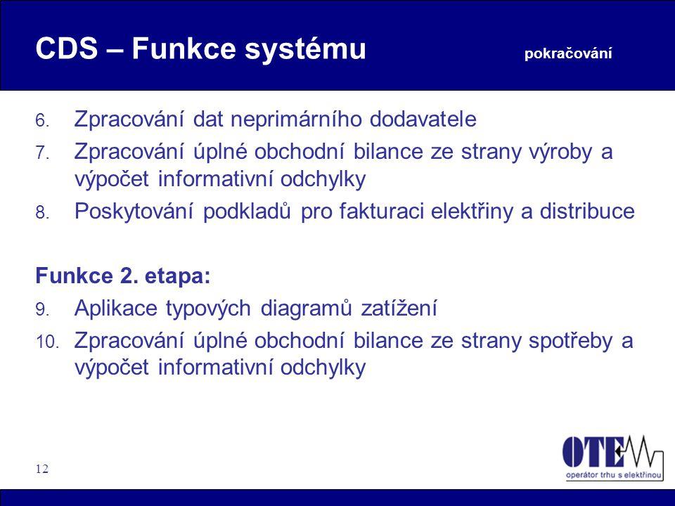 12 CDS – Funkce systému pokračování 6. Zpracování dat neprimárního dodavatele 7. Zpracování úplné obchodní bilance ze strany výroby a výpočet informat